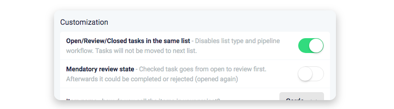Open closed tasks in same list settings ora